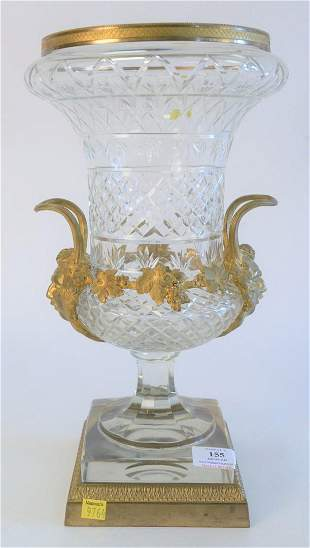 French Crystal and Gilt Bronze Urn, having handles with