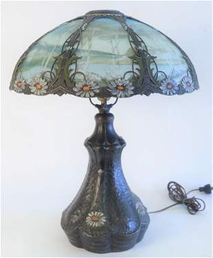 Bradley & Hubbard Victorian Reverse Painted Table Lamp,