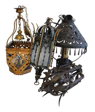 Four Gothic Revival Hanging Lanterns, to include one