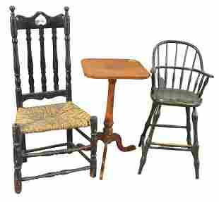 Three Piece Lot, to include bannister back side chair,