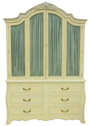 Armoire in White Paint, with stencil decoration, having