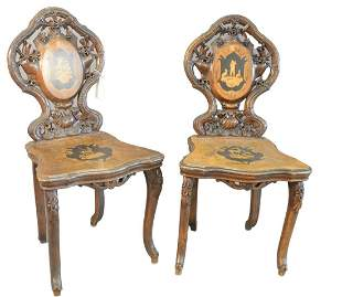 Pair Black Forest Side Chairs, with open, carved backs,