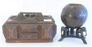 Two piece lot to include a tramp art lidded box with