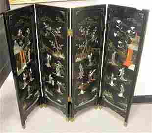 Japanese Four Panel Screen, with carved pagodas and