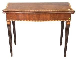 George III Mahogany Game Table, having inlaid trim and