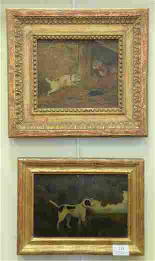 Three Piece Lot, of small hunting dog paintings, to
