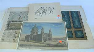One Large Group of Unframed Prints, to include a few