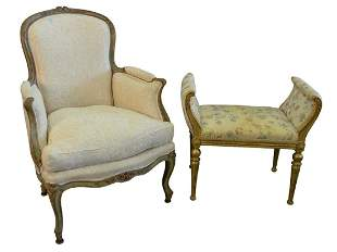 Two French Pieces, to include Louis XV style bergere in