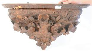 Black Forest Shelf, having carved leaves and stump, (1