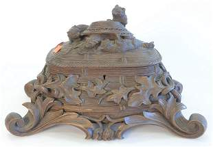 German Black Forest Carved Box, with four cats at play