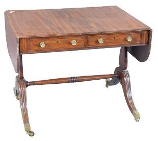 George IV Mahogany Sofa Table, on four downswept