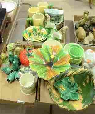 Three Tray Lots of Majolica and Glazed Ceramics, to