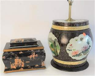 Eight Piece Group of Oriental Lacquered and Painted Box