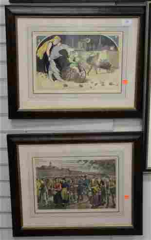 Group of six Winslow Homer hand colored engravings,
