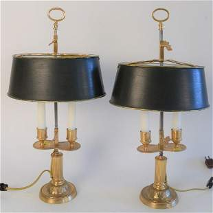 Pair of Small Gilt Bronze Boillet Style Table Lamps,