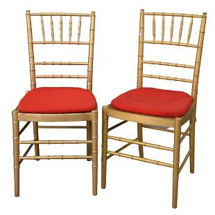 Set of Ten Faux Bamboo Chairs, gold with red slip