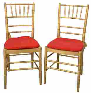Set of Eight Faux Bamboo Chairs, gold with red slip