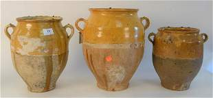 Group of Ten French Earthenware Glazed Confit Jars,
