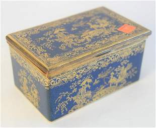 Copeland Spode Box, with hinged lid, reeded brass trim,