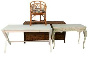 Six Piece Lot to Include, contemporary Wicker and Faux