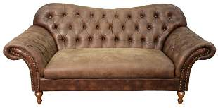 Contemporary Brown Leather Upholstered Sofa having