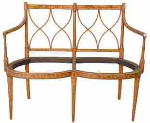 Edwardian Double Chair Back Settee, with paint