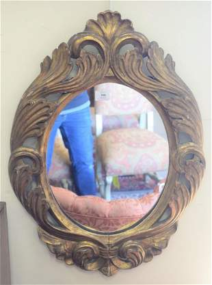 Pair of Continental Style Giltwood Mirrors, carved