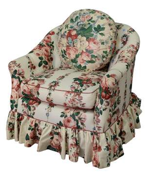 Two Piece Lot, to include custom upholstered swivel