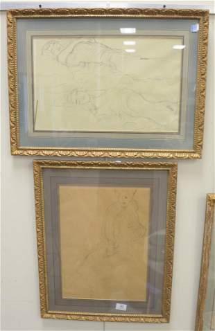 Set of Six Gustav Klimt Prints of Figures, sight size