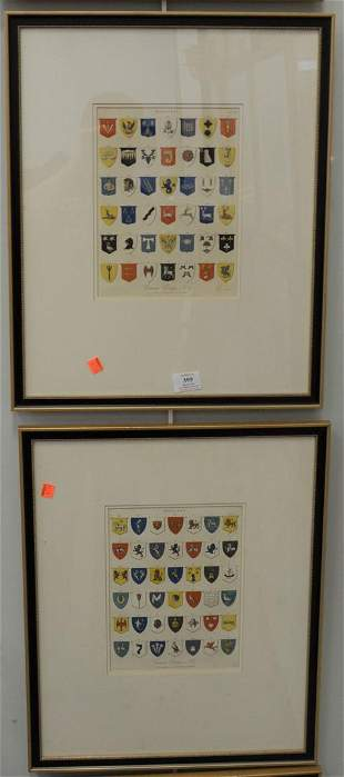 Set of Four Engravings of Common English Coat of Arms,