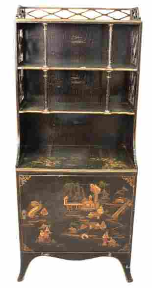 Chinoiserie Decorated Bookcase, open top and door in