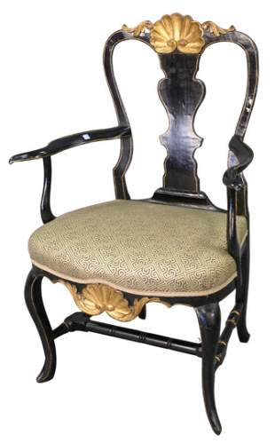 Queen Anne Armchair, with shell carved crest rail over