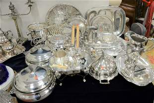 Large Group of Silver Plate to include two ice buckets,
