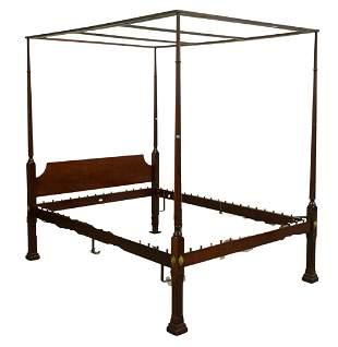 Kindel Custom Mahogany Four Post Canopy Bed, queen