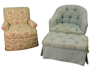Two Custom Upholstered Club Chairs, to include one