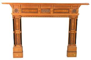 Victorian Satinwood and Burl Walnut Fire Mantle, with