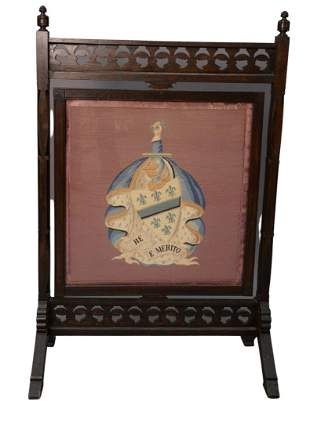 Victorian Oak Fire Screen, with revolving needlepoint
