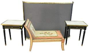 Four Piece Lot, to include 2 Louis XVI style black one