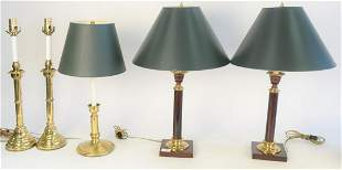 Five Candlestick Lamps, pair of brass oil lamps,