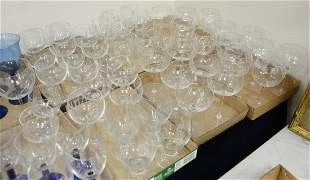 Six Tray Lots of Crystal, to include 6 oversized red