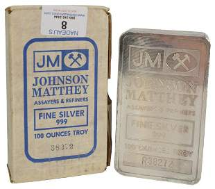 100 troy oz. Johnson Matthey Silver Bar, marked 999