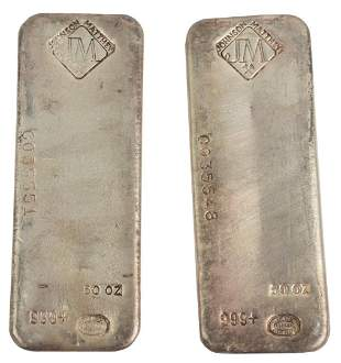 100 troy oz. Pure Silver, consisting of two 50 troy