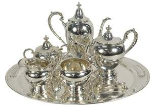 Six Piece Sterling Silver Gorham Tea and Coffee Set in