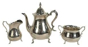 Three-Piece Sterling Silver Tea Set, hand hammered,