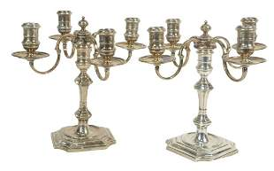 Pair English Sterling Silver Candelabras, marked James