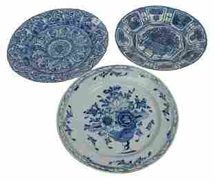 Three Chinese Blue and White Chargers, Kangxi 17th/18th