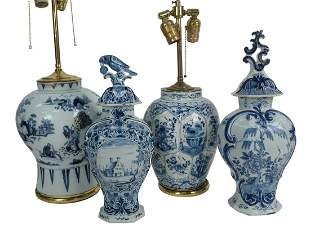 Group of Four Blue and White Delft Pieces to include a