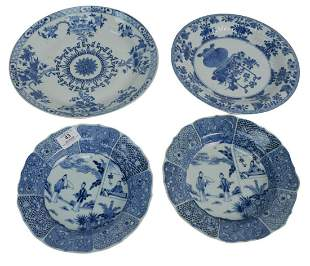 Four piece lot to include a pair of Chinese Blue and