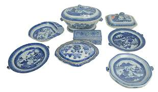 Eight Piece Lot of Canton to include 3 warming plates,