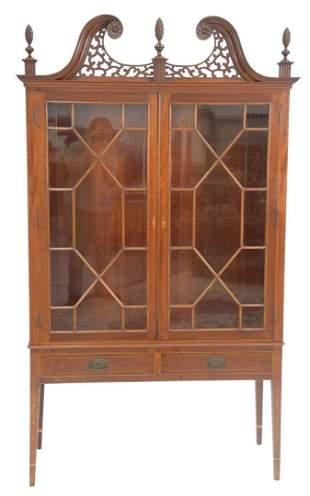 Margolis Mahogany China Cabinet having pierced carved